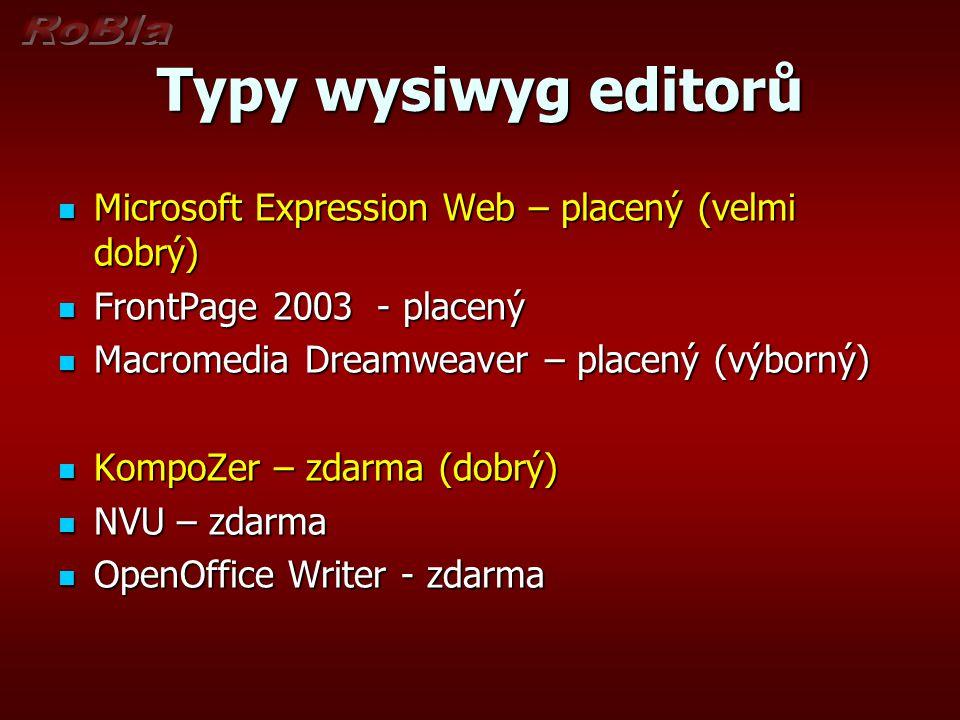 Typy wysiwyg editorů Microsoft Expression Web – placený (velmi dobrý) Microsoft Expression Web – placený (velmi dobrý) FrontPage 2003 - placený FrontP