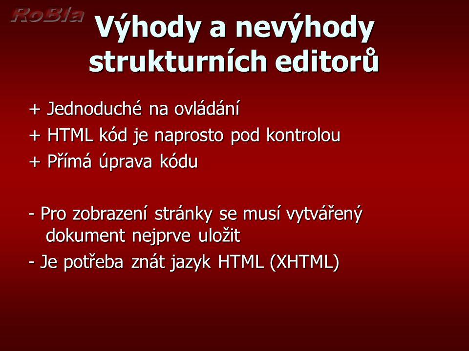 Výhody a nevýhody strukturních editorů + Jednoduché na ovládání + HTML kód je naprosto pod kontrolou + Přímá úprava kódu - Pro zobrazení stránky se mu
