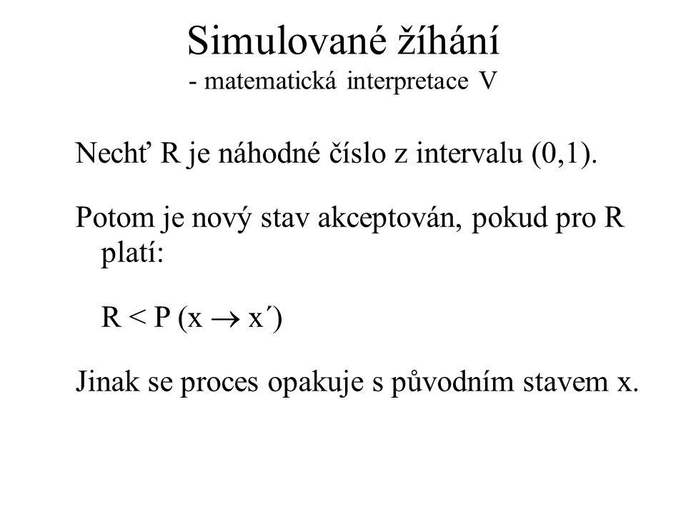 Simulované žíhání - matematická interpretace V Nechť R je náhodné číslo z intervalu (0,1). Potom je nový stav akceptován, pokud pro R platí: R < P (x