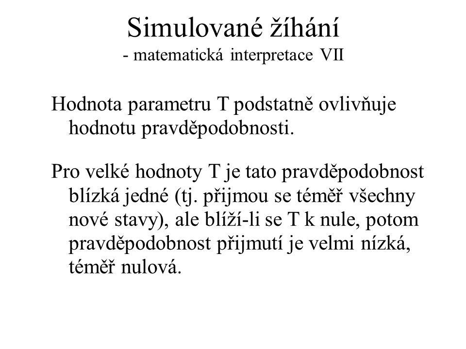 Simulované žíhání - matematická interpretace VII Hodnota parametru T podstatně ovlivňuje hodnotu pravděpodobnosti. Pro velké hodnoty T je tato pravděp