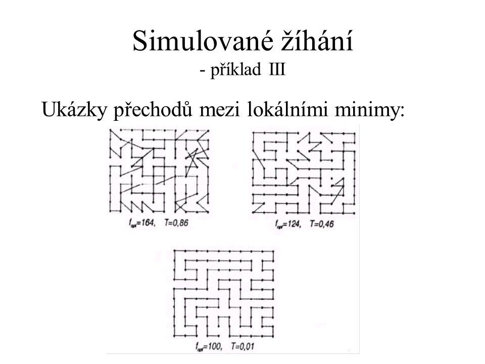Simulované žíhání - příklad III Ukázky přechodů mezi lokálními minimy: