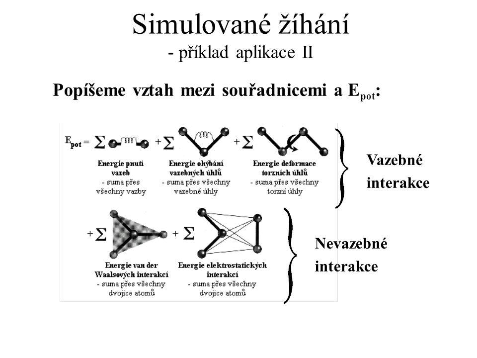 Simulované žíhání - příklad aplikace II Popíšeme vztah mezi souřadnicemi a E pot : Nevazebné interakce Vazebné interakce