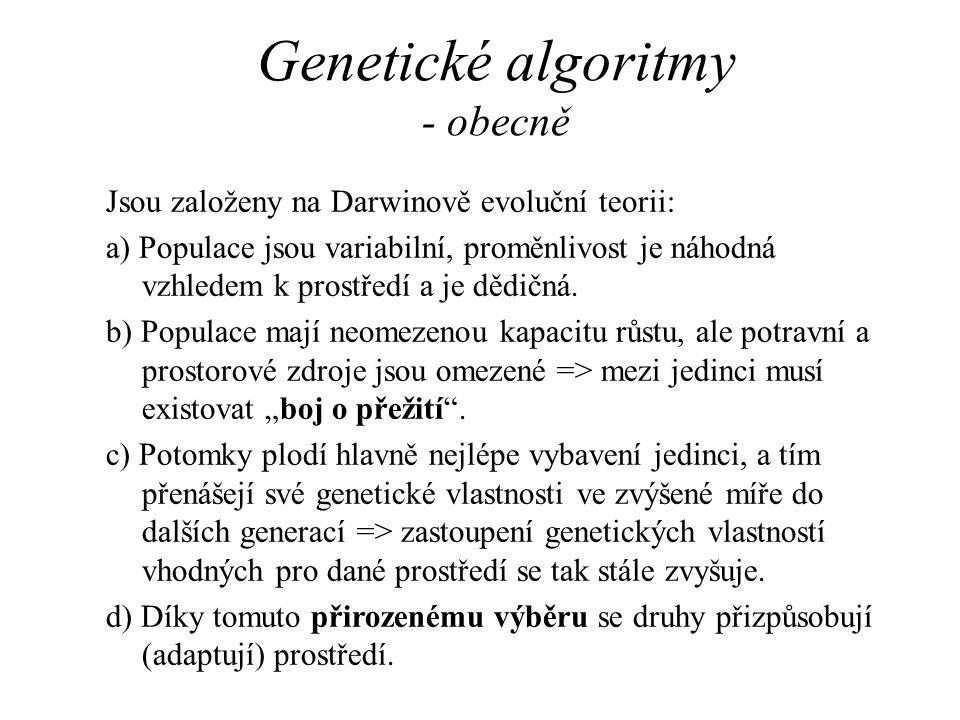 Genetické algoritmy - obecně Jsou založeny na Darwinově evoluční teorii: a) Populace jsou variabilní, proměnlivost je náhodná vzhledem k prostředí a j