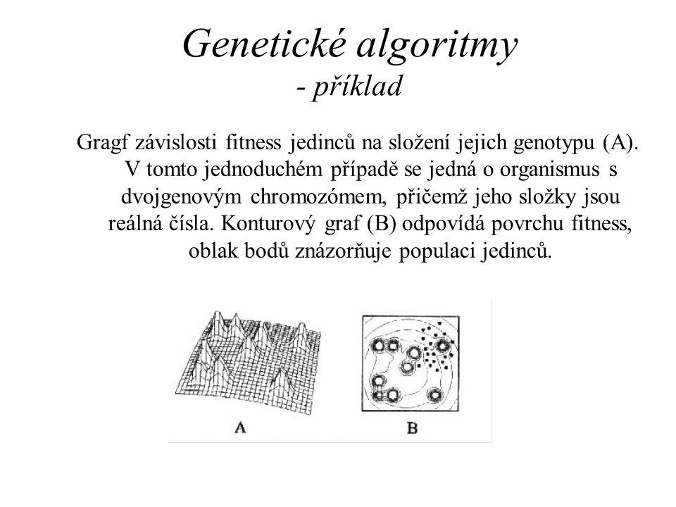 Genetické algoritmy - příklad Gragf závislosti fitness jedinců na složení jejich genotypu (A). V tomto jednoduchém případě se jedná o organismus s dvo