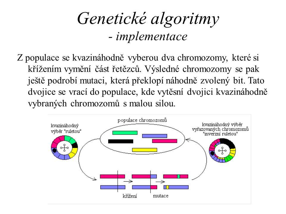 Genetické algoritmy - implementace Z populace se kvazináhodně vyberou dva chromozomy, které si křížením vymění část řetězců. Výsledné chromozomy se pa