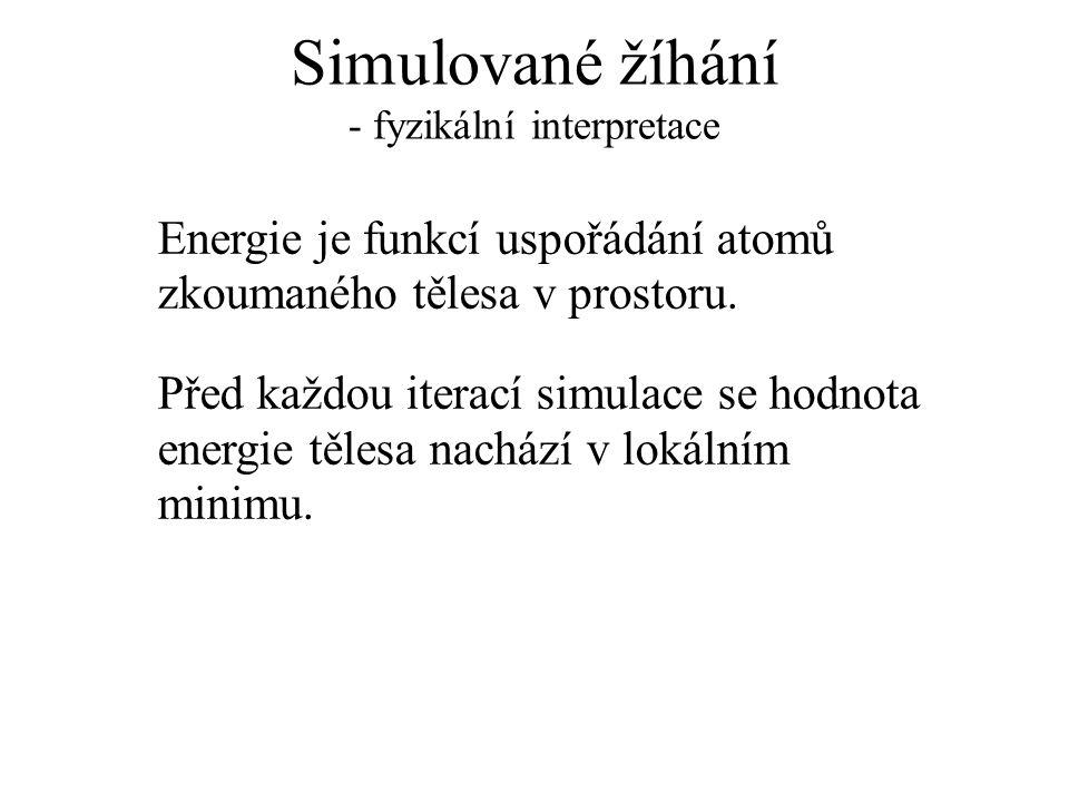 Simulované žíhání - fyzikální interpretace Energie je funkcí uspořádání atomů zkoumaného tělesa v prostoru. Před každou iterací simulace se hodnota en