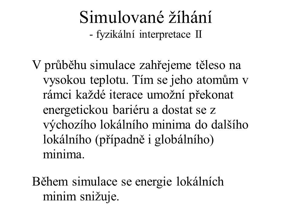 Simulované žíhání - matematická interpretace IX Umožnost realizovat energeticky nevýhodné přechody se pak postupně snižuje úměrně se zmenšováním hodnoty T.
