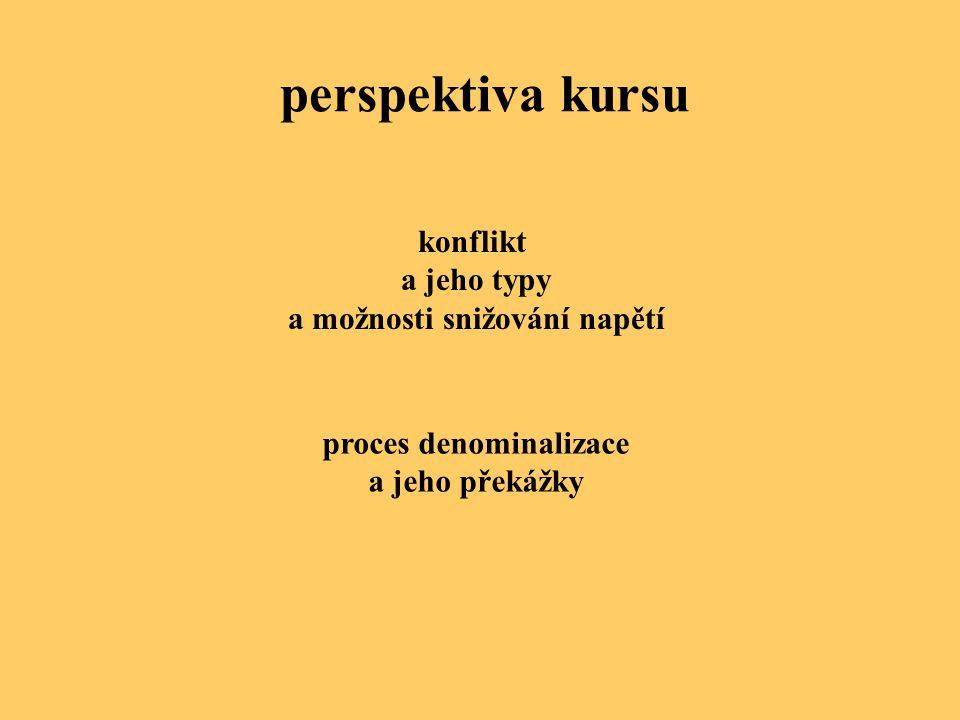perspektiva kursu konflikt a jeho typy a možnosti snižování napětí proces denominalizace a jeho překážky