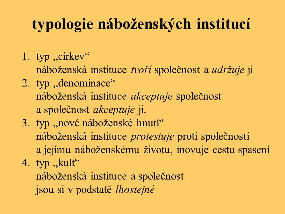 """typologie náboženských institucí 1.typ """"církev"""" náboženská instituce tvoří společnost a udržuje ji 2.typ """"denominace"""" náboženská instituce akceptuje s"""