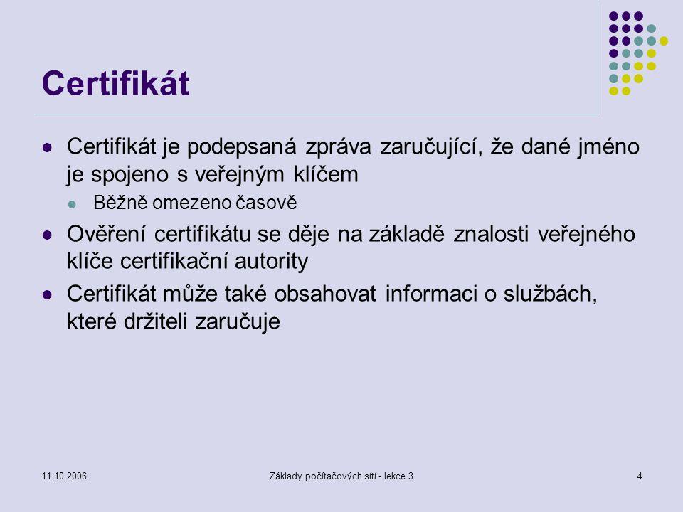 11.10.2006Základy počítačových sítí - lekce 34 Certifikát Certifikát je podepsaná zpráva zaručující, že dané jméno je spojeno s veřejným klíčem Běžně