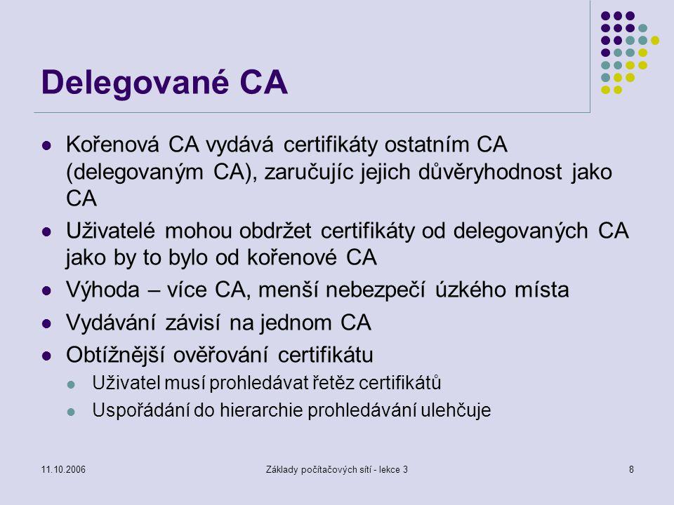 11.10.2006Základy počítačových sítí - lekce 38 Delegované CA Kořenová CA vydává certifikáty ostatním CA (delegovaným CA), zaručujíc jejich důvěryhodnost jako CA Uživatelé mohou obdržet certifikáty od delegovaných CA jako by to bylo od kořenové CA Výhoda – více CA, menší nebezpečí úzkého místa Vydávání závisí na jednom CA Obtížnější ověřování certifikátu Uživatel musí prohledávat řetěz certifikátů Uspořádání do hierarchie prohledávání ulehčuje