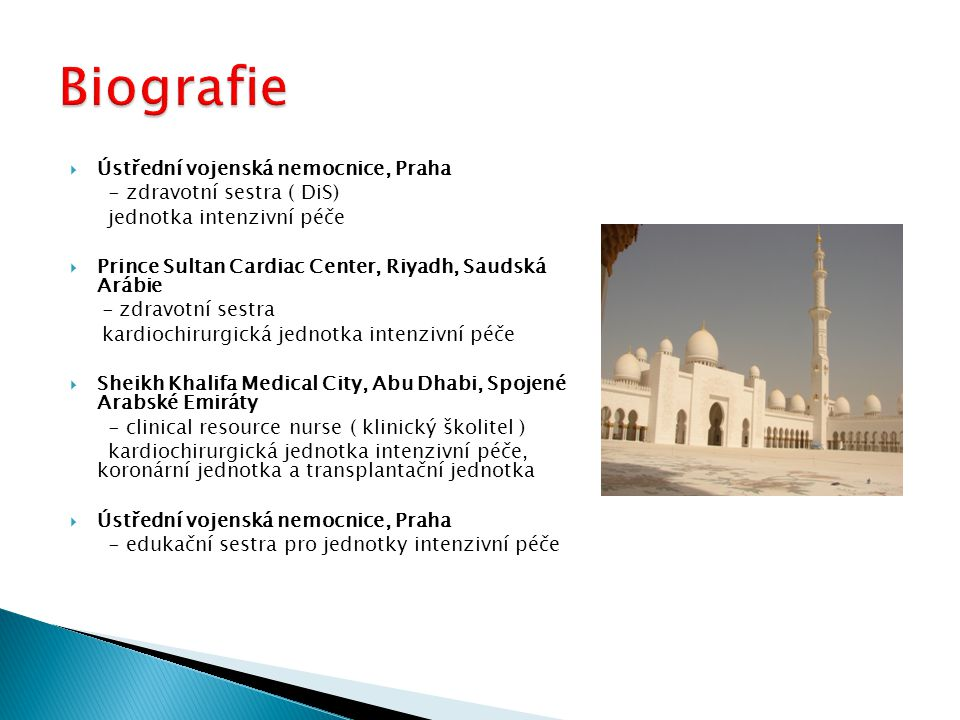  Ústřední vojenská nemocnice, Praha - zdravotní sestra ( DiS) jednotka intenzivní péče  Prince Sultan Cardiac Center, Riyadh, Saudská Arábie - zdravotní sestra kardiochirurgická jednotka intenzivní péče  Sheikh Khalifa Medical City, Abu Dhabi, Spojené Arabské Emiráty - clinical resource nurse ( klinický školitel ) kardiochirurgická jednotka intenzivní péče, koronární jednotka a transplantační jednotka  Ústřední vojenská nemocnice, Praha - edukační sestra pro jednotky intenzivní péče