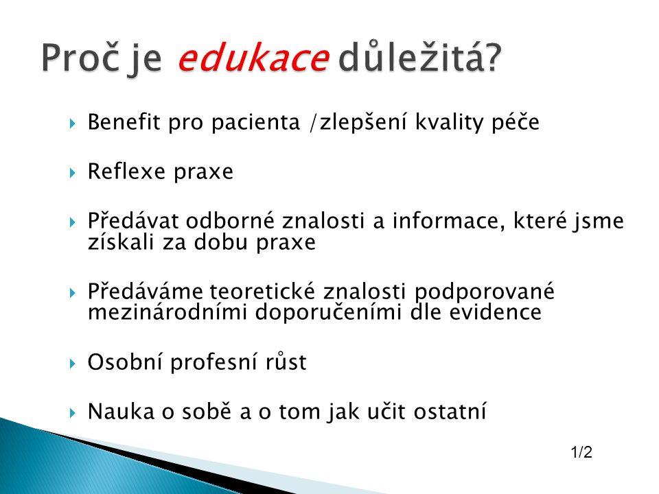  Benefit pro pacienta /zlepšení kvality péče  Reflexe praxe  Předávat odborné znalosti a informace, které jsme získali za dobu praxe  Předáváme teoretické znalosti podporované mezinárodními doporučeními dle evidence  Osobní profesní růst  Nauka o sobě a o tom jak učit ostatní 1/2