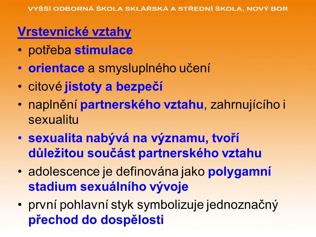 Vrstevnické vztahy potřeba stimulace orientace a smysluplného učení citové jistoty a bezpečí naplnění partnerského vztahu, zahrnujícího i sexualitu sexualita nabývá na významu, tvoří důležitou součást partnerského vztahu adolescence je definována jako polygamní stadium sexuálního vývoje první pohlavní styk symbolizuje jednoznačný přechod do dospělosti
