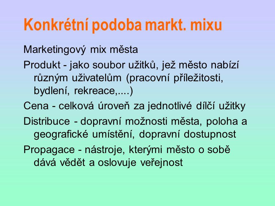 Konkrétní podoba markt. mixu Marketingový mix města Produkt - jako soubor užitků, jež město nabízí různým uživatelům (pracovní příležitosti, bydlení,