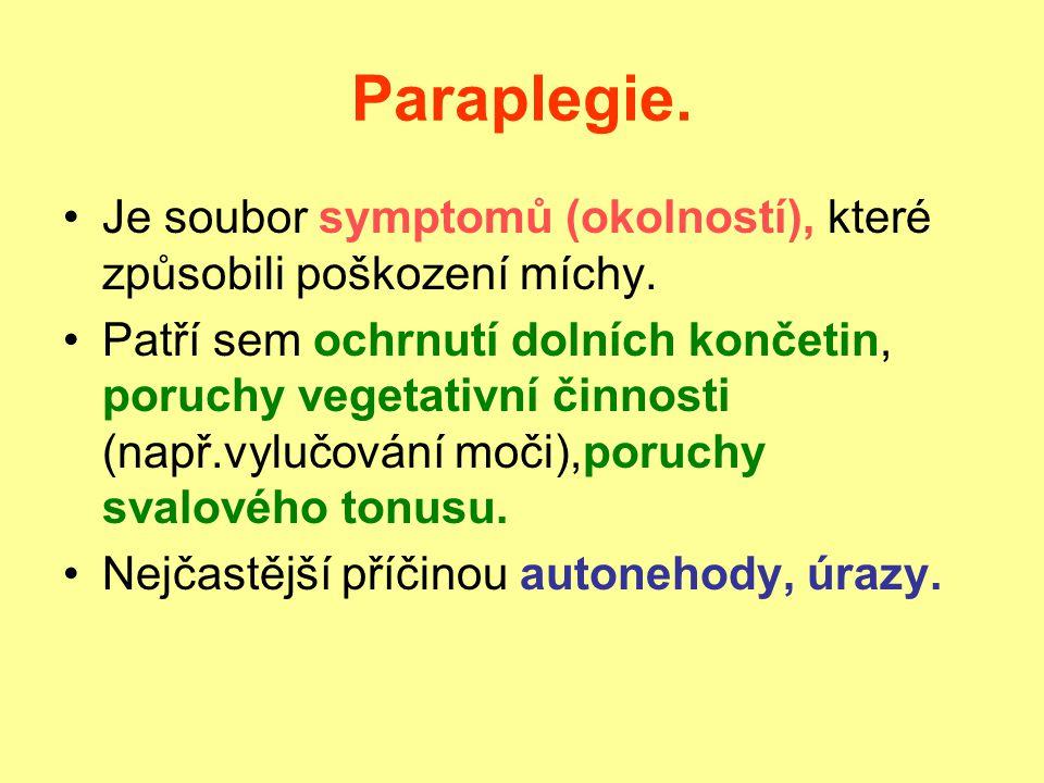 Paraplegie.Je soubor symptomů (okolností), které způsobili poškození míchy.