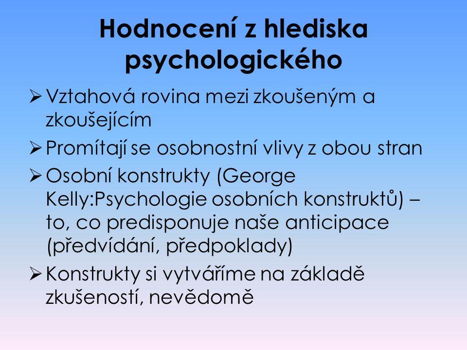Hodnocení z hlediska psychologického  Vztahová rovina mezi zkoušeným a zkoušejícím  Promítají se osobnostní vlivy z obou stran  Osobní konstrukty (