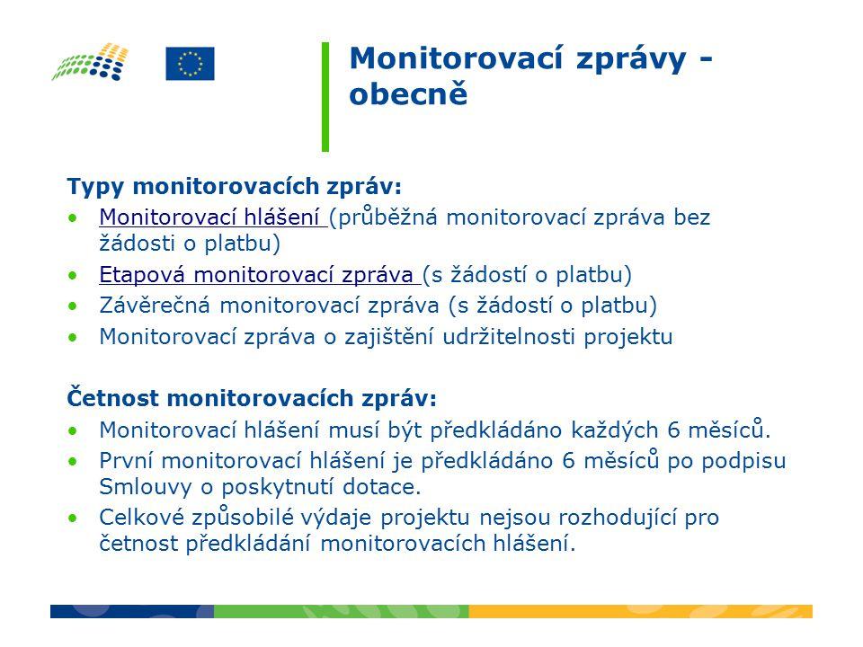 Monitorovací zprávy - obecně Typy monitorovacích zpráv: Monitorovací hlášení (průběžná monitorovací zpráva bez žádosti o platbu)Monitorovací hlášení Etapová monitorovací zpráva (s žádostí o platbu)Etapová monitorovací zpráva Závěrečná monitorovací zpráva (s žádostí o platbu) Monitorovací zpráva o zajištění udržitelnosti projektu Četnost monitorovacích zpráv: Monitorovací hlášení musí být předkládáno každých 6 měsíců.