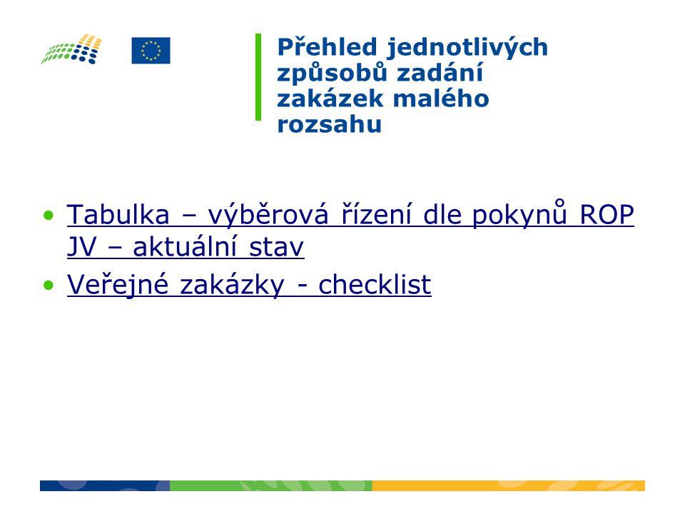 Přehled jednotlivých způsobů zadání zakázek malého rozsahu Tabulka – výběrová řízení dle pokynů ROP JV – aktuální stavTabulka – výběrová řízení dle pokynů ROP JV – aktuální stav Veřejné zakázky - checklist
