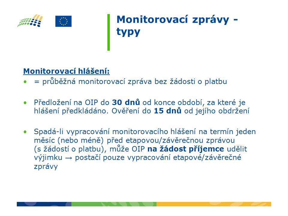 Monitorovací zprávy - typy Monitorovací hlášení: = průběžná monitorovací zpráva bez žádosti o platbu Předložení na OIP do 30 dnů od konce období, za které je hlášení předkládáno.
