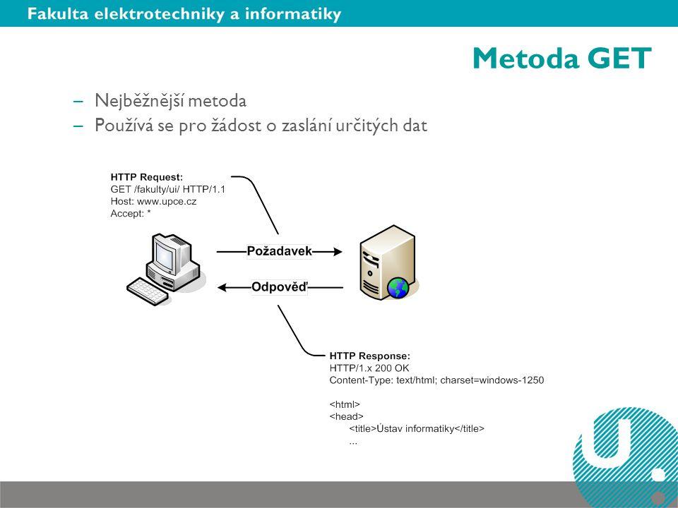 Metoda GET –Nejběžnější metoda –Používá se pro žádost o zaslání určitých dat