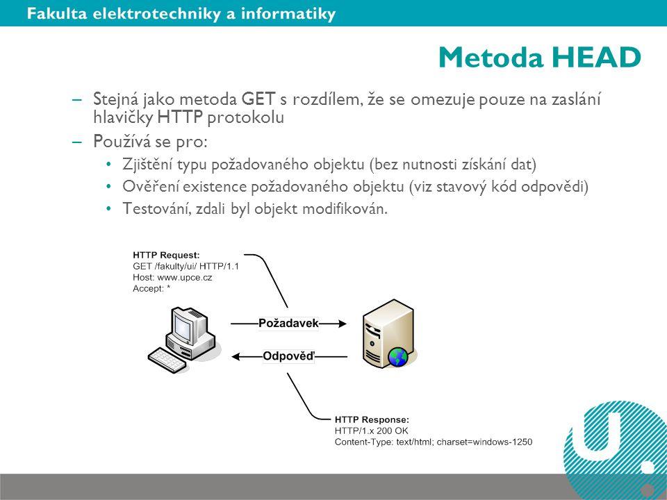 Metoda HEAD –Stejná jako metoda GET s rozdílem, že se omezuje pouze na zaslání hlavičky HTTP protokolu –Používá se pro: Zjištění typu požadovaného objektu (bez nutnosti získání dat) Ověření existence požadovaného objektu (viz stavový kód odpovědi) Testování, zdali byl objekt modifikován.