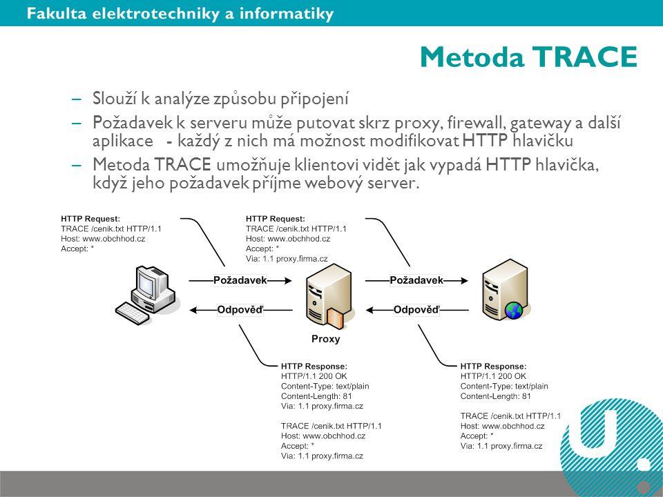 Metoda TRACE –Slouží k analýze způsobu připojení –Požadavek k serveru může putovat skrz proxy, firewall, gateway a další aplikace - každý z nich má možnost modifikovat HTTP hlavičku –Metoda TRACE umožňuje klientovi vidět jak vypadá HTTP hlavička, když jeho požadavek příjme webový server.