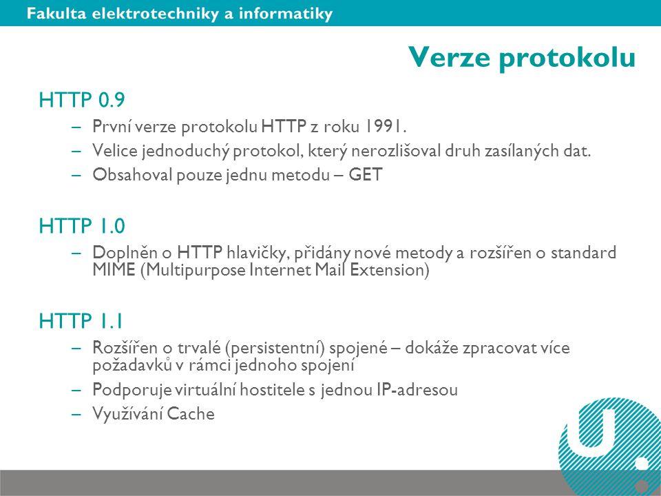 Verze protokolu HTTP 0.9 –První verze protokolu HTTP z roku 1991.