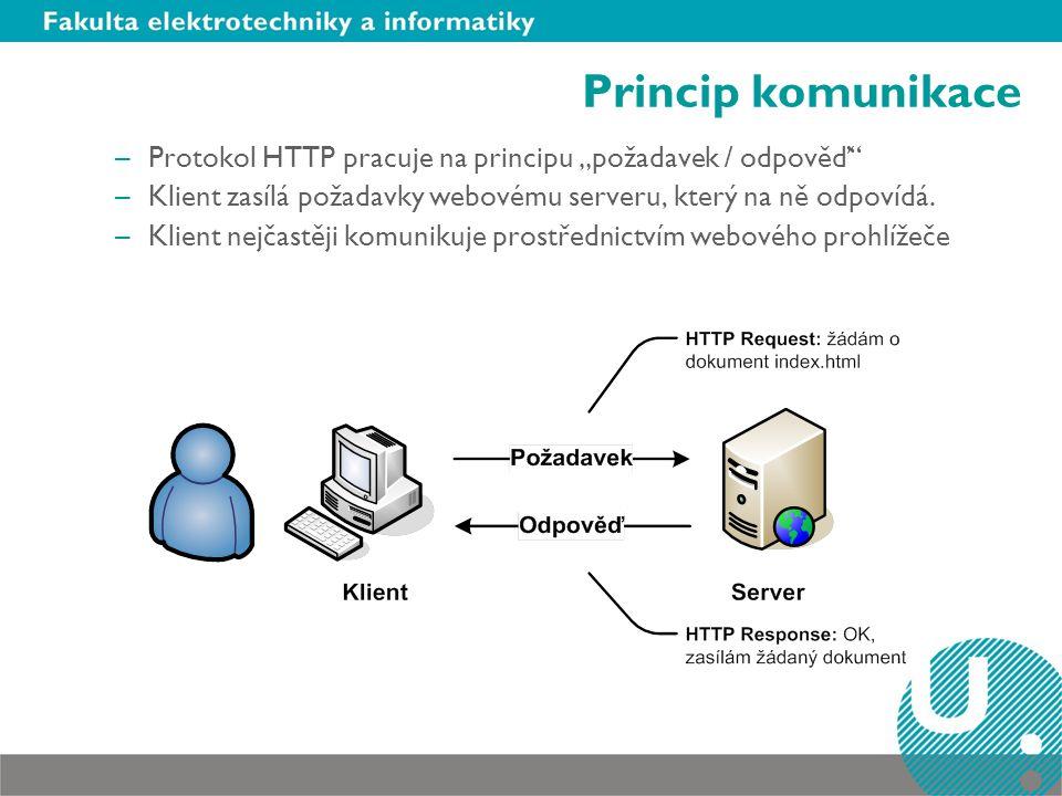 """Princip komunikace –Protokol HTTP pracuje na principu """"požadavek / odpověď –Klient zasílá požadavky webovému serveru, který na ně odpovídá."""