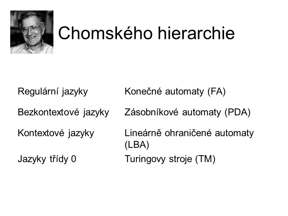 Chomského hierarchie Regulární jazykyKonečné automaty (FA) Bezkontextové jazykyZásobníkové automaty (PDA) Kontextové jazykyLineárně ohraničené automat