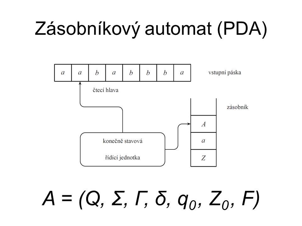 Zásobníkový automat (PDA) A = (Q, Σ, Γ, δ, q 0, Z 0, F)