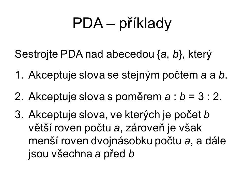 PDA – příklady Sestrojte PDA nad abecedou {a, b}, který 1.Akceptuje slova se stejným počtem a a b. 2.Akceptuje slova s poměrem a : b = 3 : 2. 3.Akcept