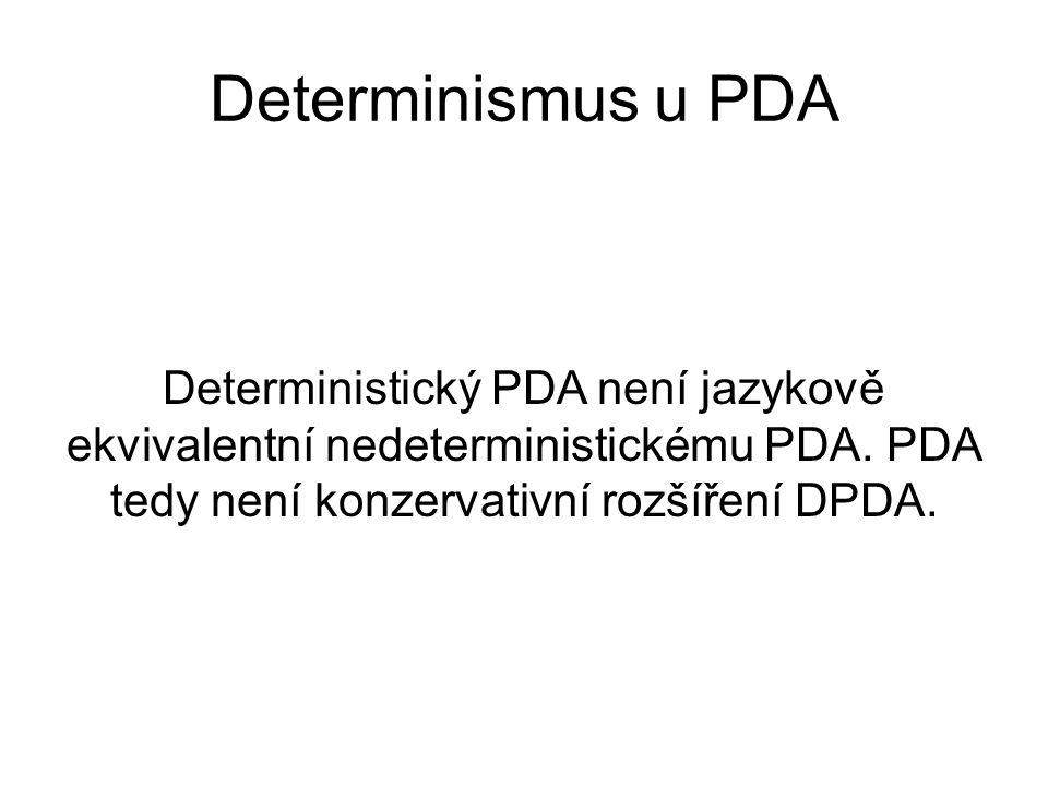 Determinismus u PDA Deterministický PDA není jazykově ekvivalentní nedeterministickému PDA. PDA tedy není konzervativní rozšíření DPDA.