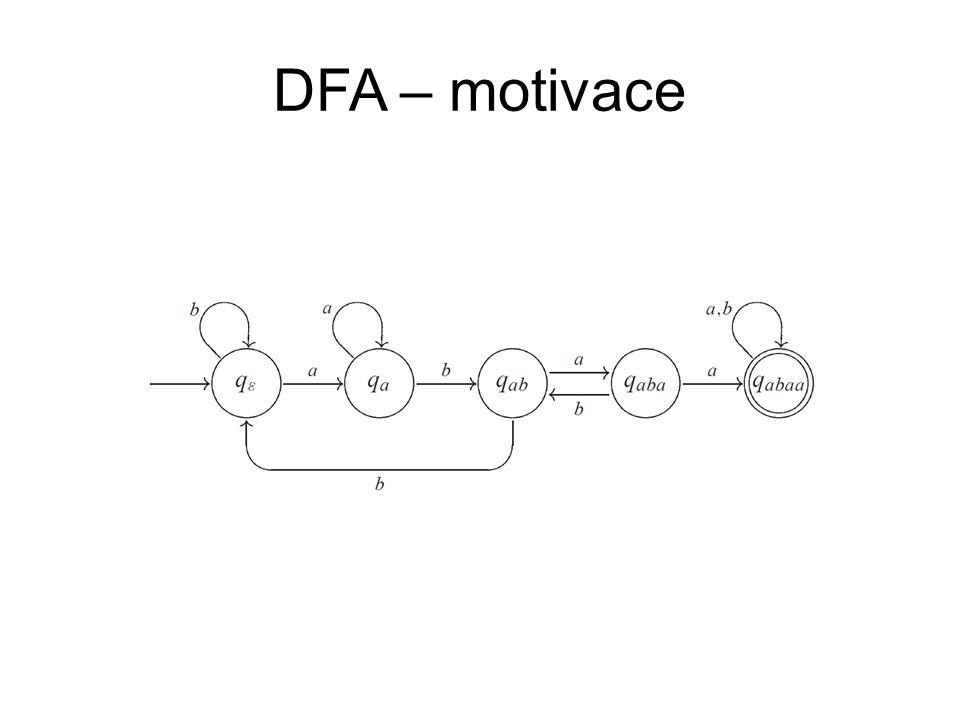 DFA – příklady Zkonstruujte DFA nad abecedou {a, b}, který 1.akceptuje slova se stejným počtem a a b.
