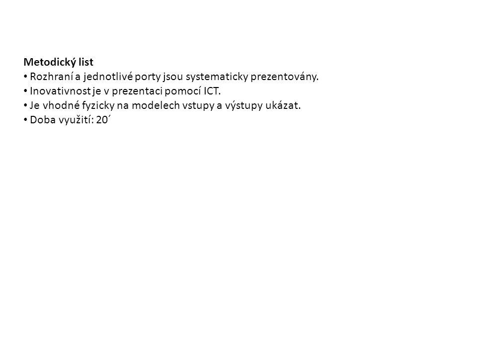 Metodický list Rozhraní a jednotlivé porty jsou systematicky prezentovány.