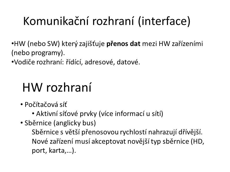 Komunikační rozhraní (interface) HW (nebo SW) který zajišťuje přenos dat mezi HW zařízeními (nebo programy).