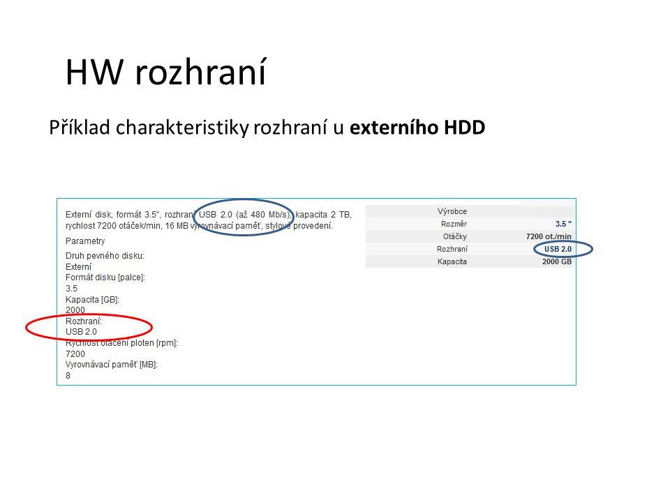 HW rozhraní Příklad charakteristiky rozhraní u externího HDD
