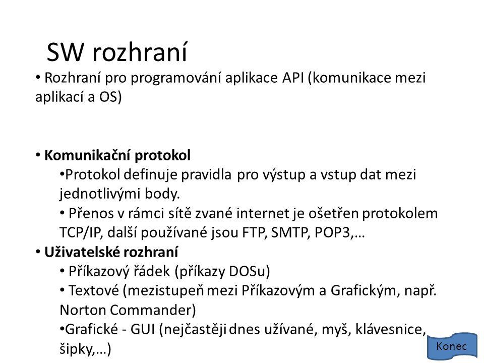 SW rozhraní Rozhraní pro programování aplikace API (komunikace mezi aplikací a OS) Komunikační protokol Protokol definuje pravidla pro výstup a vstup dat mezi jednotlivými body.