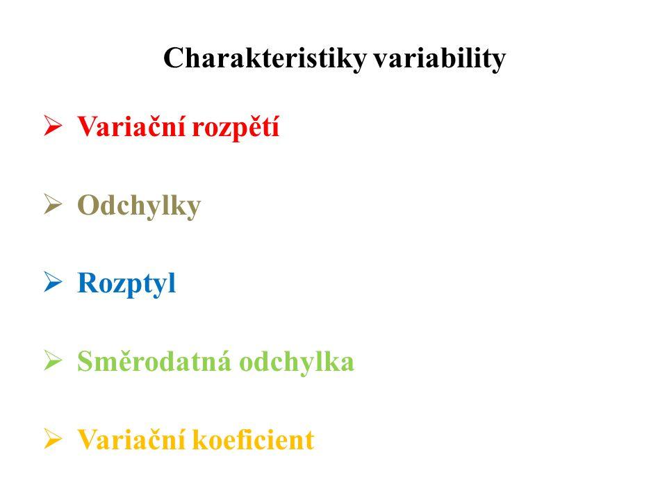 Charakteristiky variability  Variační rozpětí  Odchylky  Rozptyl  Směrodatná odchylka  Variační koeficient
