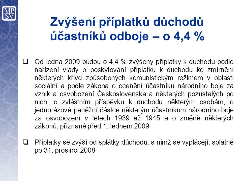 Zvýšení příplatků důchodů účastníků odboje – o 4,4 %  Od ledna 2009 budou o 4,4 % zvýšeny příplatky k důchodu podle nařízení vlády o poskytování příp