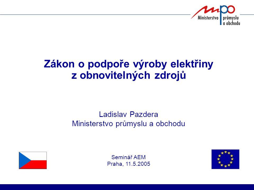 Zákon o podpoře výroby elektřiny z obnovitelných zdrojů Ladislav Pazdera Ministerstvo průmyslu a obchodu Seminář AEM Praha, 11.5.2005