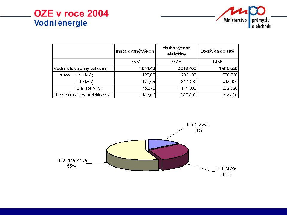 OZE v roce 2004 Vodní energie
