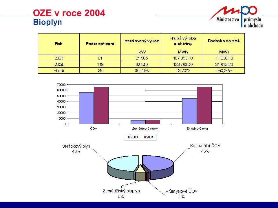 OZE v roce 2004 Bioplyn