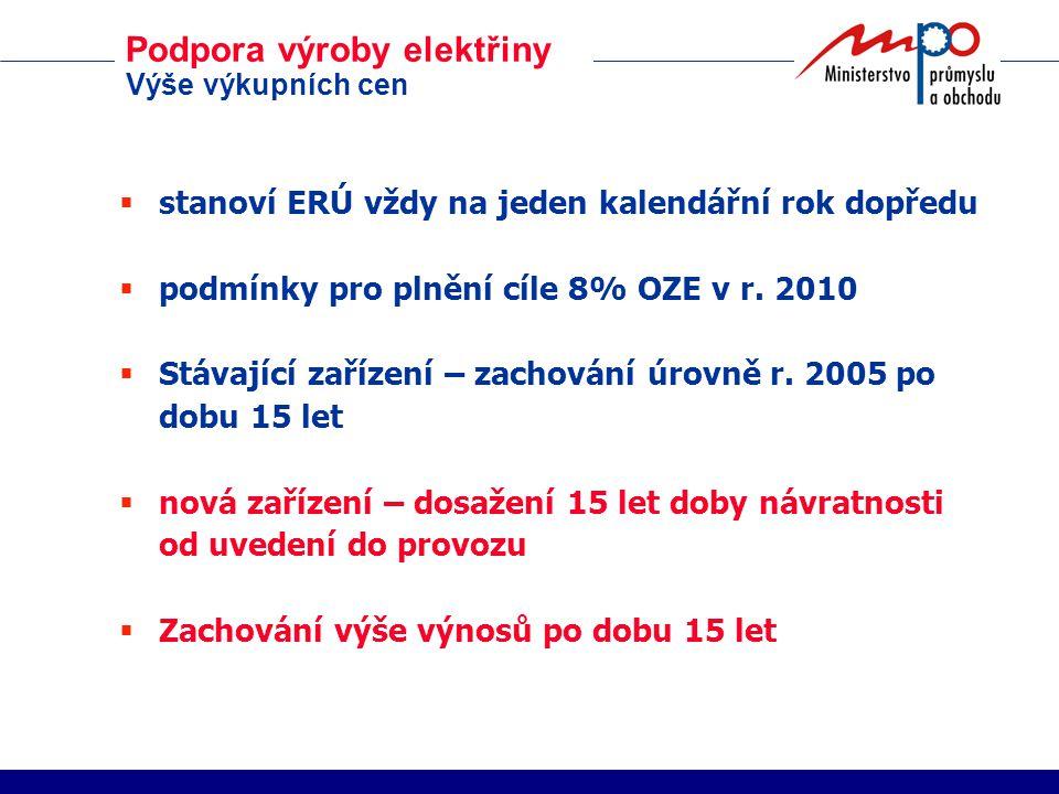 Podpora výroby elektřiny Výše výkupních cen  stanoví ERÚ vždy na jeden kalendářní rok dopředu  podmínky pro plnění cíle 8% OZE v r.
