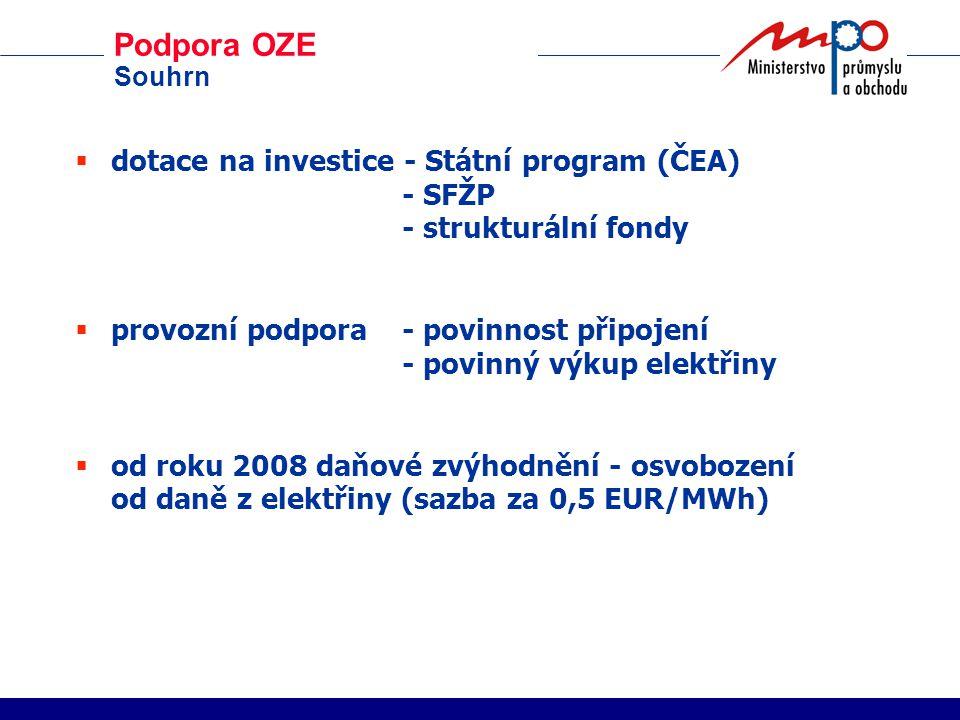 Podpora OZE Souhrn  dotace na investice - Státní program (ČEA) - SFŽP - strukturální fondy  provozní podpora - povinnost připojení - povinný výkup elektřiny  od roku 2008 daňové zvýhodnění - osvobození od daně z elektřiny (sazba za 0,5 EUR/MWh)
