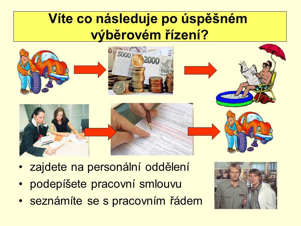 zajdete na personální oddělení podepíšete pracovní smlouvu seznámíte se s pracovním řádem Víte co následuje po úspěšném výběrovém řízení