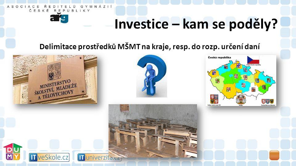 Investice – kam se poděly Delimitace prostředků MŠMT na kraje, resp. do rozp. určení daní