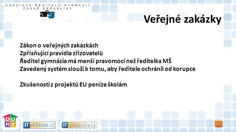 Veřejné zakázky Zákon o veřejných zakázkách Zpřísňující pravidla zřizovatelů Ředitel gymnázia má menší pravomoci než ředitelka MŠ Zavedený systém slouží k tomu, aby ředitele ochránil od korupce Zkušenosti z projektů EU peníze školám