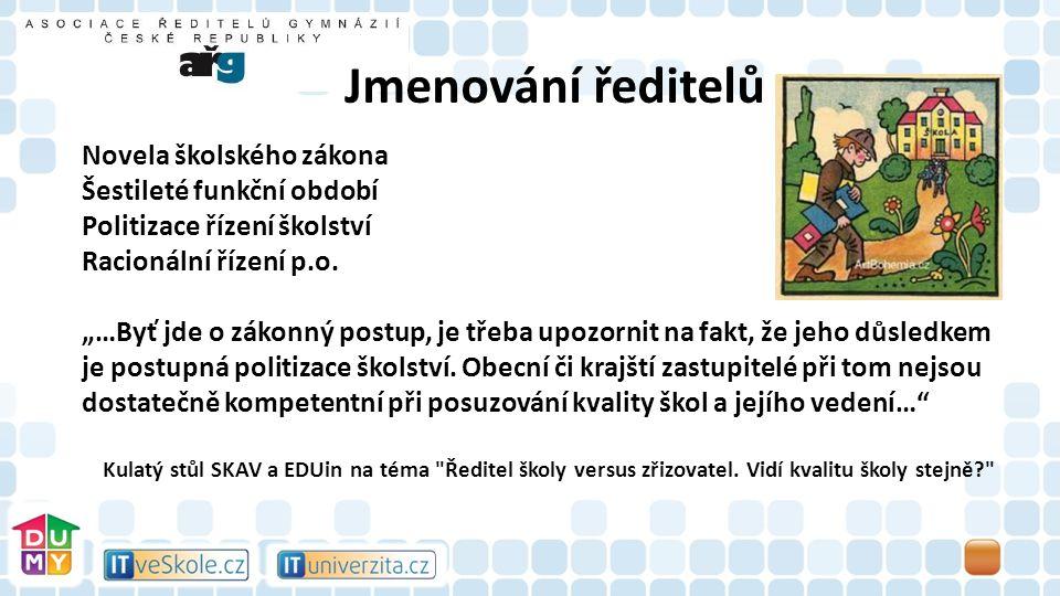 Novela školského zákona Šestileté funkční období Politizace řízení školství Racionální řízení p.o.