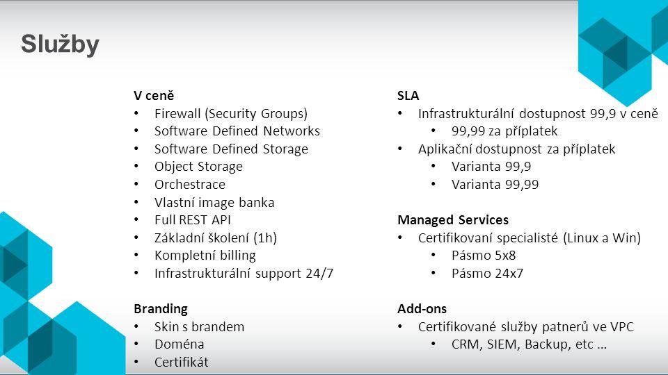 Služby V ceně Firewall (Security Groups) Software Defined Networks Software Defined Storage Object Storage Orchestrace Vlastní image banka Full REST API Základní školení (1h) Kompletní billing Infrastrukturální support 24/7 Branding Skin s brandem Doména Certifikát SLA Infrastrukturální dostupnost 99,9 v ceně 99,99 za příplatek Aplikační dostupnost za příplatek Varianta 99,9 Varianta 99,99 Managed Services Certifikovaní specialisté (Linux a Win) Pásmo 5x8 Pásmo 24x7 Add-ons Certifikované služby patnerů ve VPC CRM, SIEM, Backup, etc …